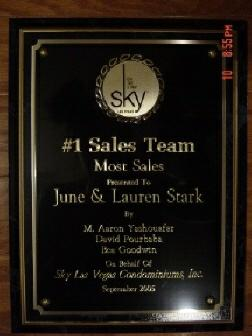 Sky Las Vegas Stark Team Award for Top Sales