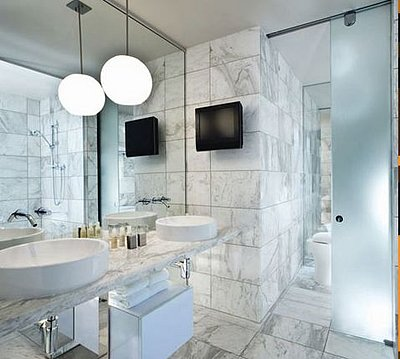 Palms Place Carrera Marble Clad Bath